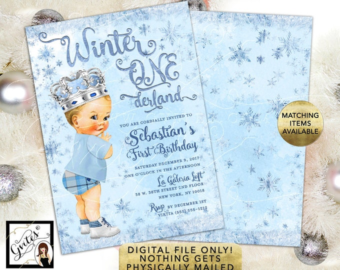 """BOY Winter ONEderland Invitation Ice Blue and Silver Invitations Watercolor Snowflake First Birthday Printable Invites, 5x7"""" Double Sided."""