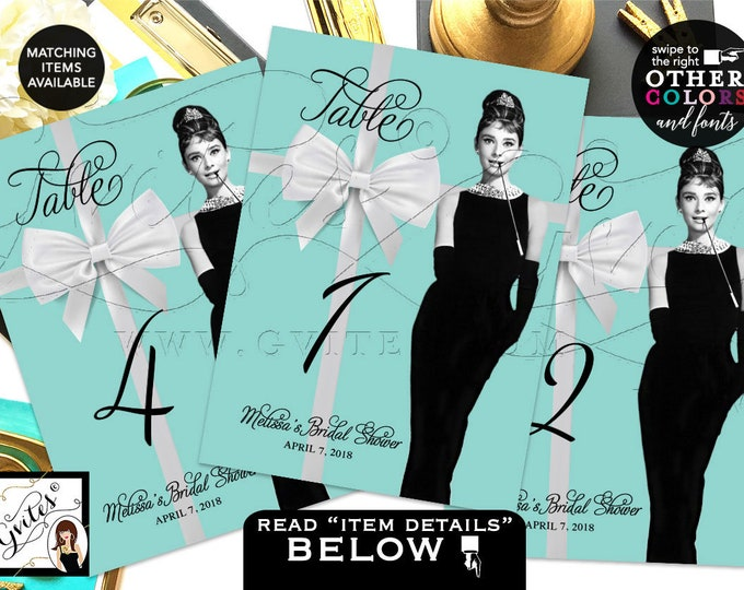 "Table Numbers, Breakfast at Audrey Hepburn Table Numbers, Bridal Shower Table Numbers, Turquoise Blue, Digital, 5x7"" PRINTABLE Gvites"