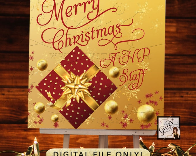 Merry Christmas Backdrop Signs Business Banner, Holiday Signage, Digital File Only!