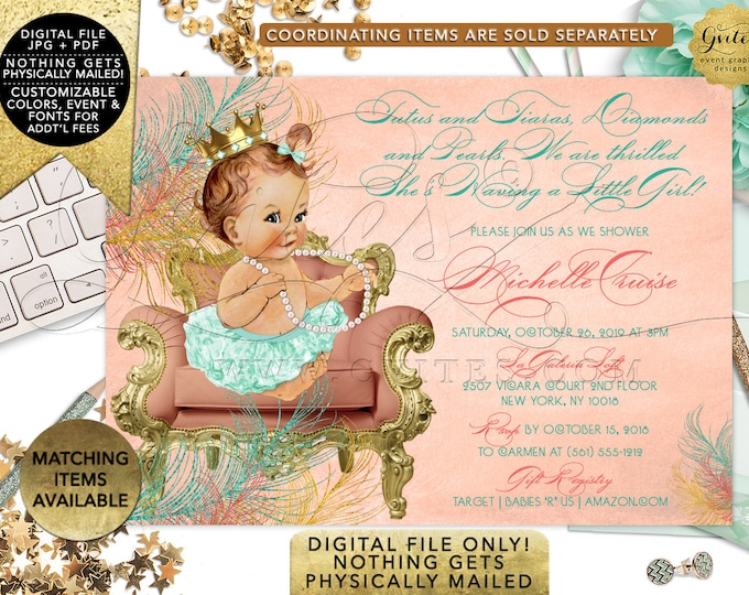 Mint Green and coral baby shower invitation, princess african american baby girl, tutus tiaras diamonds and pearls. Gvites
