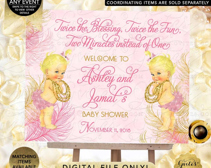 Twins Welcome Sign Pink & Gold Princess Girl | JPG + PDF {Design: TWACE-105} By Gvites