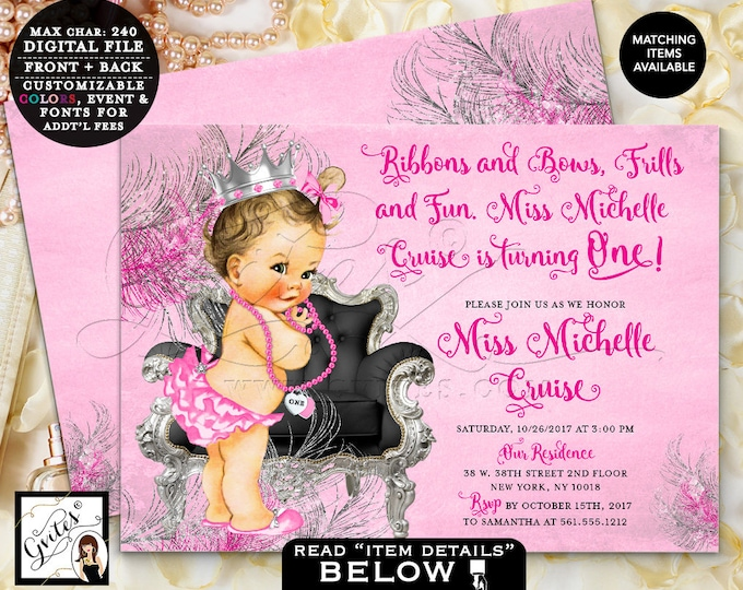 Pink and silver princess party, baby first birthday invitation, 1st vintage invites, 7x5 Double Sided. DIGITAL Gvites