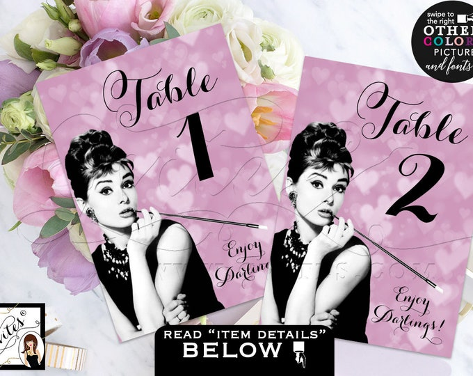 "Audrey Hepburn Table numbers Bridal Shower breakfast at and co, lavender purple cards, signs, guest seating, printable file {5x7""}"