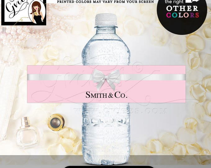 "Name & Co Water Bottle Labels, bridal shower, Birthday Labels Stickers breakfast at {REALISTIC SATIN RIBBON} 8x2""/5 Per Sheet. Digital File"