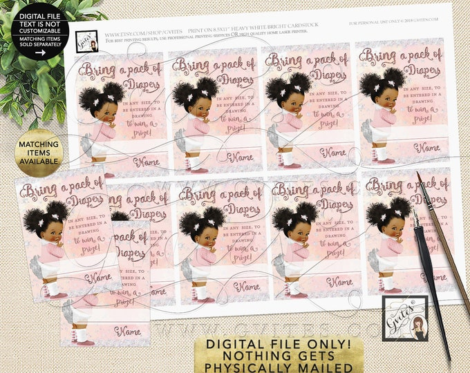 "Diaper Raffle Tickets Printable Winter Wonderland, it's Cold Outside. 2.5x3.5"" 8/Per Sheet {Afro Puffs Curly/INSTANT DOWNLOAD}"