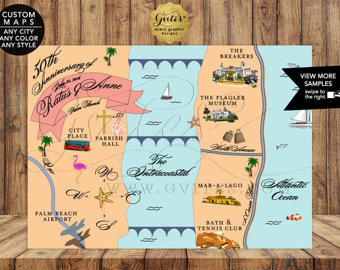 50th Anniversary Map Personalized. The Breakers Palm Beach Florida Custom Maps for any occasion. Digital File Only!