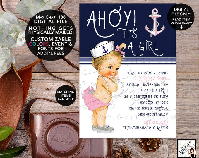 Nautical Baby Shower Printable Invites, Pink Silver and Navy Blue, Ahoy its a girl, vintage, digital, 5x7, Gvites