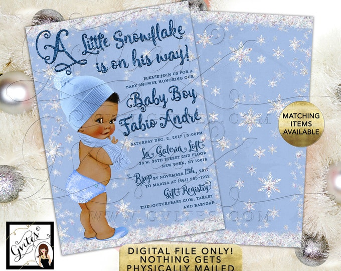 """A little Snowflake is on his way! Baby Shower Boy Invitations African American Winter Printable Invites. 5x7"""" Double Sided. Digital File!"""
