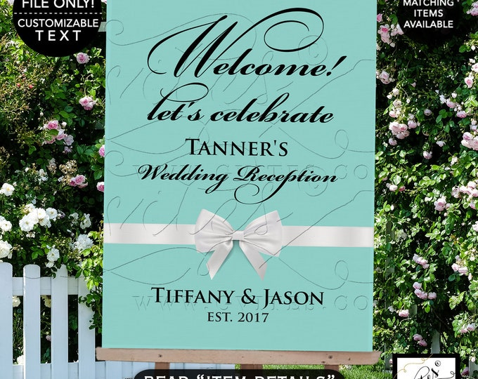 Welcome let's celebrate sign, wedding reception, wedding printable digital poster signs, customizable text and colors, breakfast at themed.