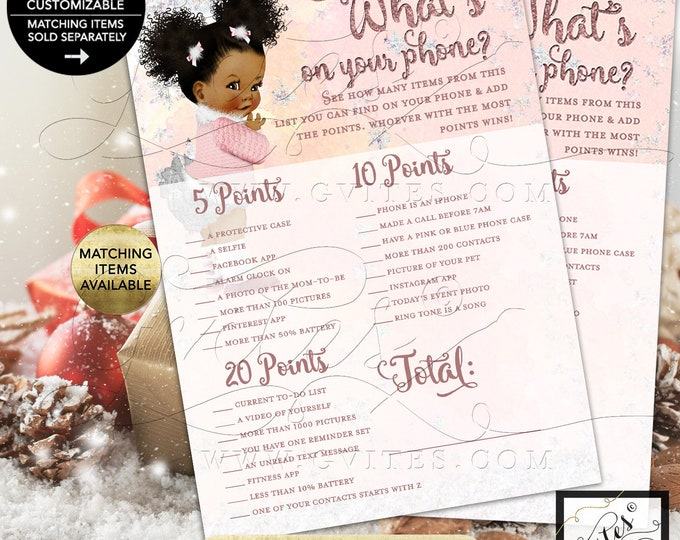 "What's On Your Phone Game Baby Winter Wonderland Pink Silver, it's Cold Outside, African American 5x7"" 2/Per Sheet {INSTANT DOWNLOAD}"