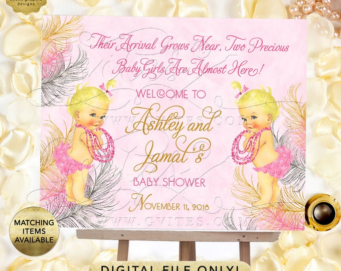 Pink Gold and Silver Twin Baby Shower Welcome Sign, Princess Decor, Vintage Girl {Pink/Silver/Gold Feathers}