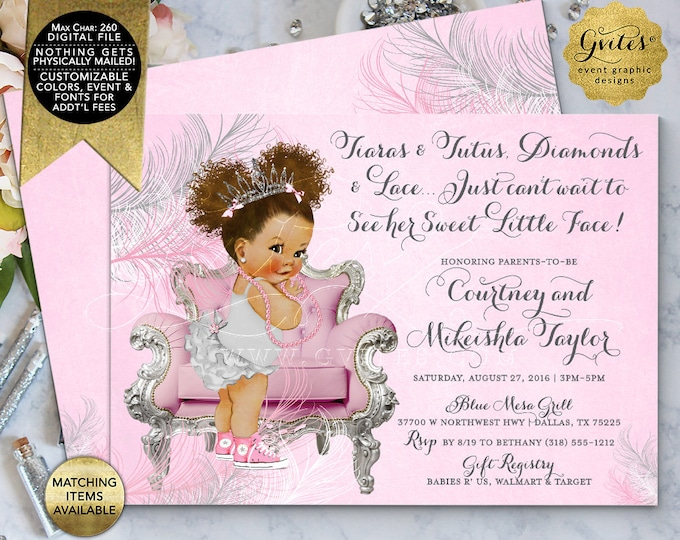 "Tiaras and Tutus Diamonds and Lace Baby Shower Printable Invitations, Afro Puffs Curly Baby Girl Vintage, Pink and Silver. 7x5"" Double Sided"