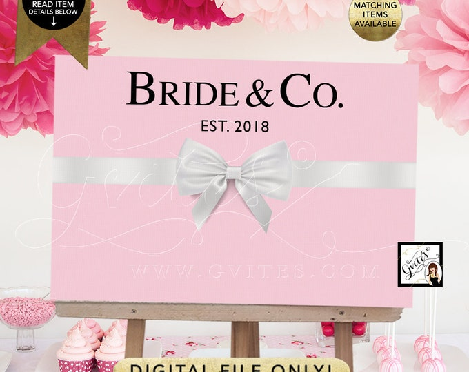 Bride and Co Backdrops, Poster, Signs, Table Decorations, Entrance Bridal Shower Decor, Breakfast at Party. Digital, Printable. {Light Pink}