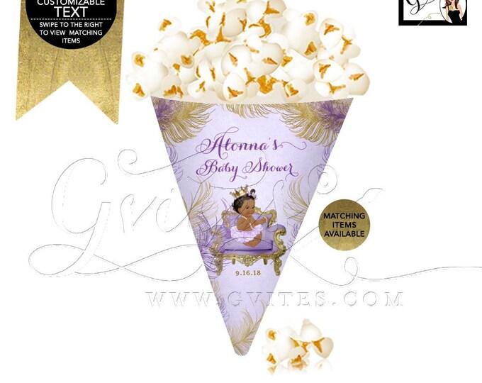 Snack Cones Baby Shower, Popcorn Cone Printable, African American Princess Party, Lavender Purple and Gold, DIY, Gvites.