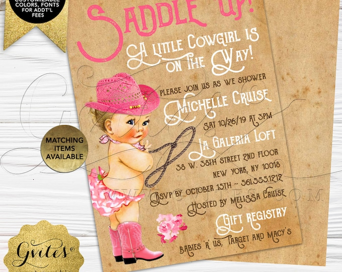 "Cowgirl Baby Shower Invitation | Printable/Digital File Only! JPG + PDF Format | 5x7"" Double Sided 