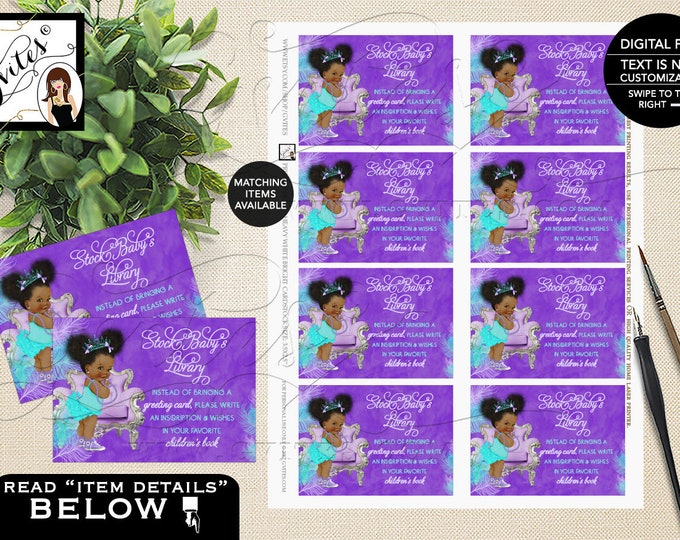 "Baby Shower Book Request Feather, Babies Printable, Insert, Card, Turquoise, Princess, African American Afro Puffs 3.5x2.5"" 8/Sheet. Gvites"