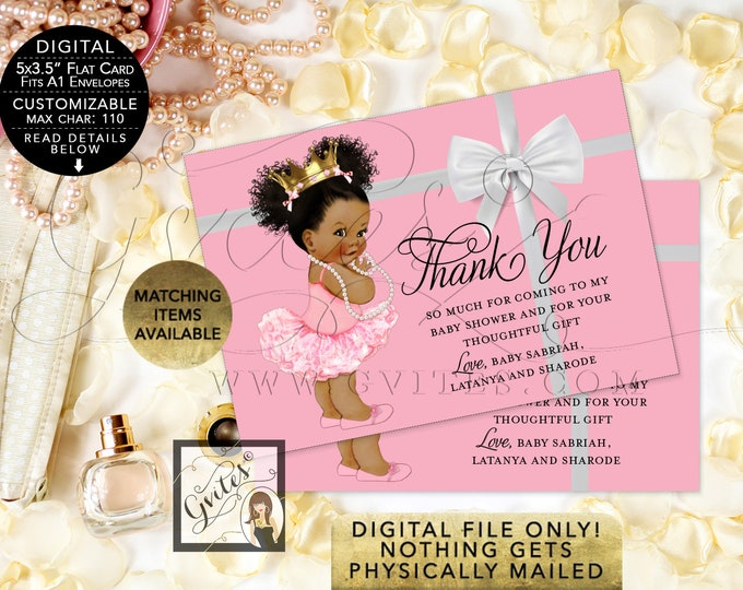 "Thank You Ballerina Princess Pink and Gold White Bow Baby Shower Diamonds Pearls, DIY, Digital File Only! {5x3.5"" 4 Per/Sheet}"