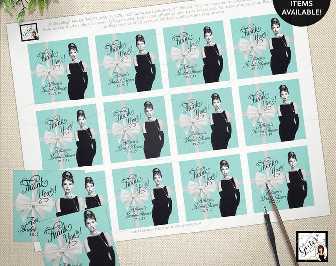 "Thank You Audrey Hepburn Gift Tags/Labels/Stickers/ Breakfast at co blue little black dress, lingerie shower, bridal  2x2"" 12/Per Sheet"