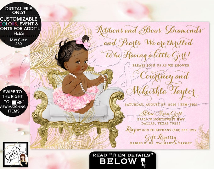Pink and Gold Baby shower invitations African American ribbons bows diamonds pearls, vintage girl tutu invite digital. {White/Gold Feathers}