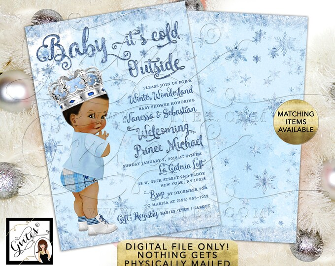 "Baby it's Cold Outside Winter Wonderland Baby Shower Invitations, Silver Ice Blue. Vintage Baby Boy Printable. 5x7"" Double Sided."