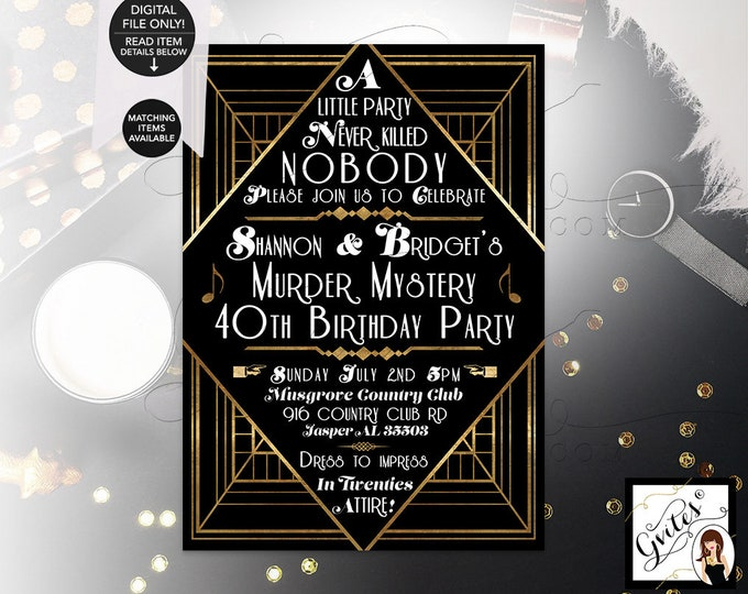 """Murder Mystery 40th Birthday Party, Great Gatsby themed party invitations, 1920s black and gold, Digital, Printable, DIY, 5x7"""" Gvites"""