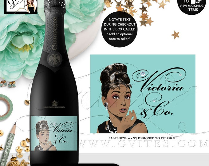 "Champagne Labels Audrey Hepburn Printable Invitation, 40th Birthday Breakfast at, African American, DIY, Digital. 4x3""/6 Per Sheet."