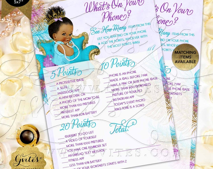 "What's On Your Phone Baby Game Purple Gold Turquoise | INSTANT DOWNLOAD Dark/Bun Curly | 7x5"" 2 Per Sheet 