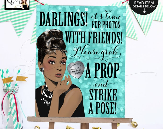 "Sweet 16 Photo Booth Sign Breakfast at Audrey's Printable, African American Audrey Hepburn grab a prop and strike a pose, 8x10"" Gvites."