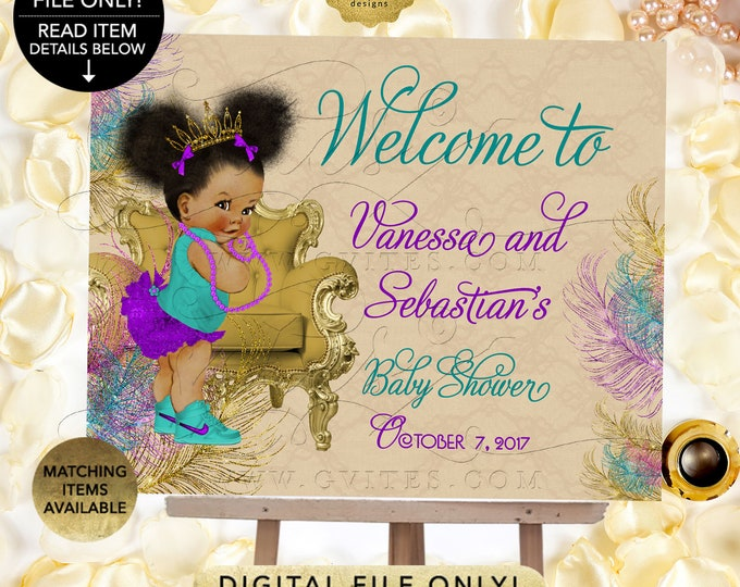 Welcome Baby Shower Poster Signs Teal Purple and Gold, Afro Puffs Princess Gold Tiara, Peacock Beige, Printable. Digital File Only!