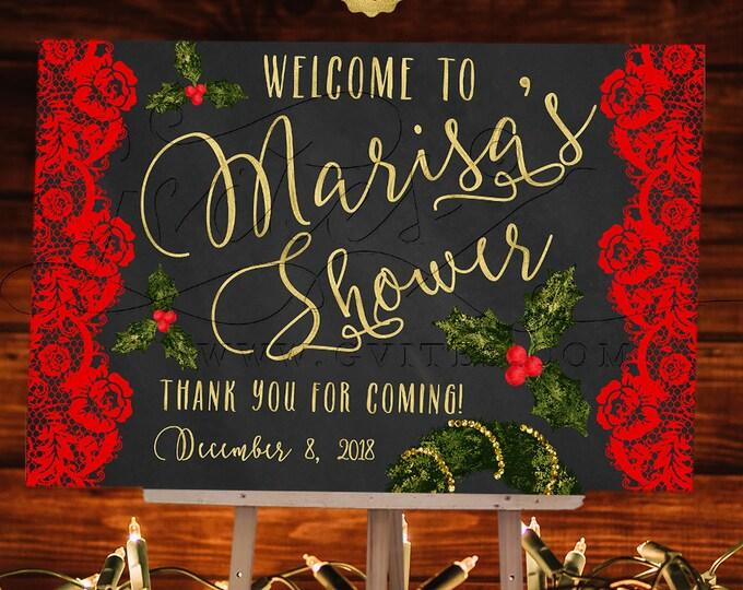 Welcome Bridal Shower Sign Christmas, Chalkboard Printable Poster, Holiday, Wedding Signs, Xmas Decorations, Decor, DIY, Digital, JPG + PDF.
