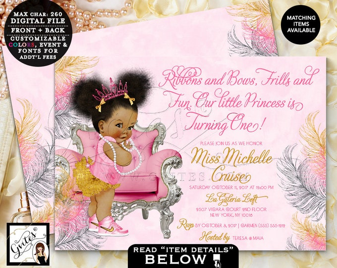 """Pink Silver and Gold First Birthday Invitation Afro Puffs Princess Printable Invites 7x5"""" Double Sided {Pink/Silver/Gold Feathers}"""