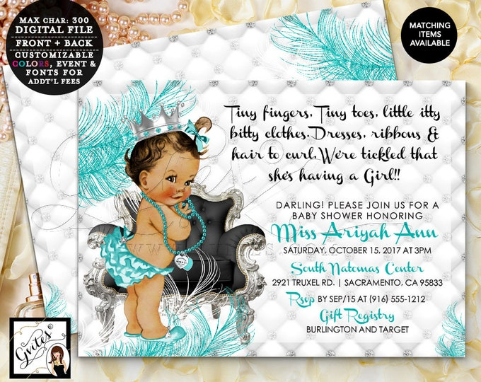 Breakfast at Baby Shower Printable invitations, blue and silver, diamonds pearls, princess party double sided, DIY, Digital File!