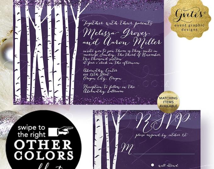 "Winter Wedding Invitation - Birch Tree Lavender White and Purple Printable Set. Digital File Only! Invite 7x5"", Response 5x3.5"""