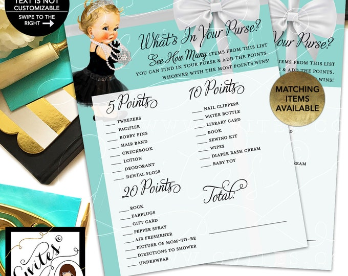 "Whats in your purse baby shower game. Printable cards. 5x7""/2 Per Sheet {INSTANT DOWNLOAD/Baby: Light Blonde}"