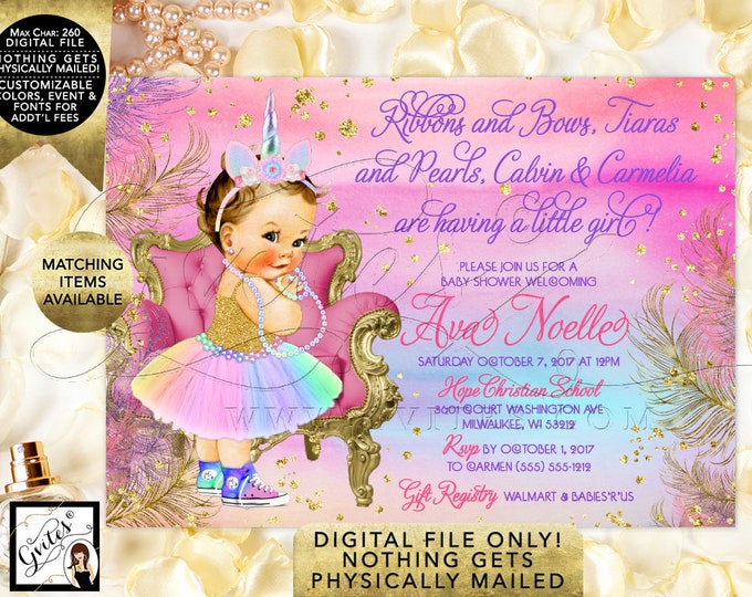 "Unicorn Baby Shower Invitation Princess Vintage Girl. Pink Purple Gold Turquoise, Rainbow Printable Party Invites. 7x5"" Digital File Only!"