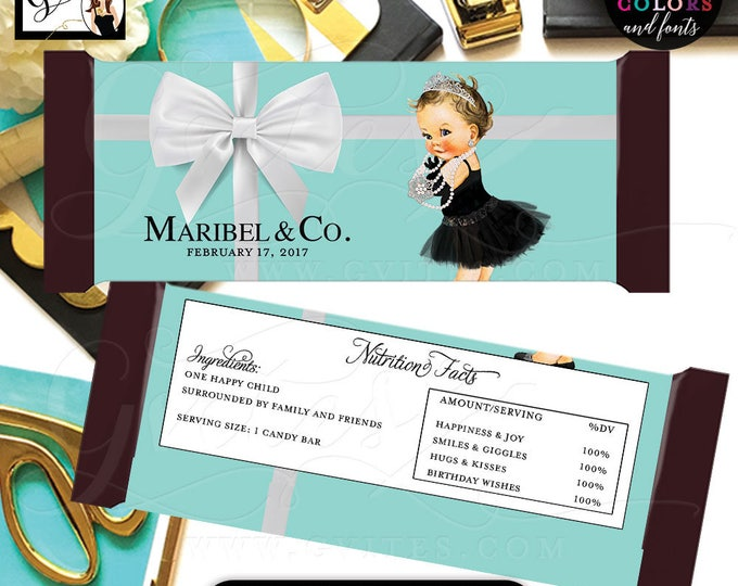 Baby and Co Candy Bar Wrappers, BIRTHDAY candy bar favors, stickers, hershey bar chocolate labels, party printables {Realistic Satin Ribbon}