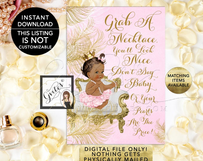 """Don't Say Baby Necklace Game, Princess Pink & Gold Princess Baby Shower, Digital 5x7"""" Skin Tone: Med/Brunette  {White/Gold Feathers}"""