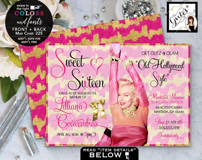 Marilyn Monroe Style Pink and Gold Sweet 16 invitations,gold glitter birthday invitations, mis quince birthday glitz & glam 7x5 Digital File