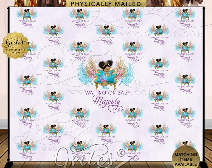 Purple Turquoise Step Repeat Baby Shower Banner Backdrop, Photo Booth Lavender Princess Party | Design: TIACH-105 By Gvites