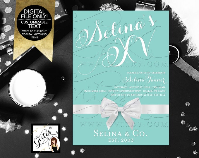 "Mis Quince Invitation Invitation, XV Turquoise Blue White Bow Ribbon, Teen Party Printable Invites, DIY, Digital File Only, 5x7"" Gvites"