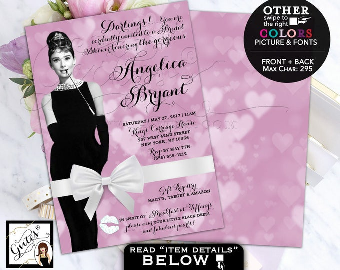 Bridal Shower Invitation Audrey Hepburn wedding breakfast at and co bride invites, lavender, purple ad white. Digital File, Double Sided 5x7