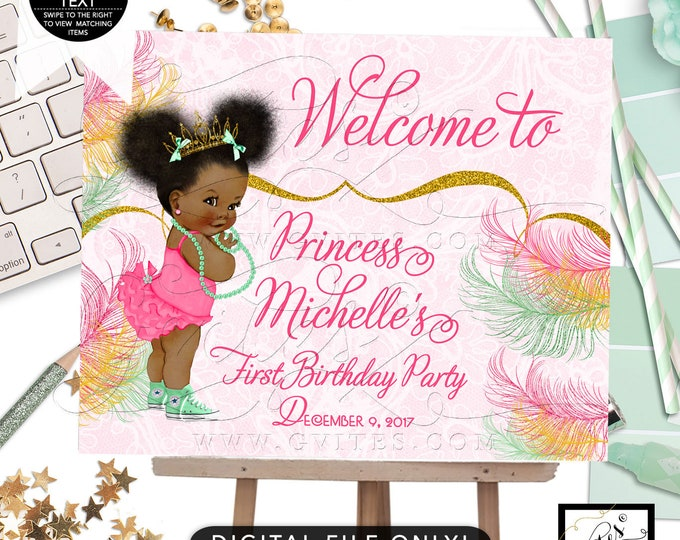 Welcome First Birthday Sign, Mint and Gold Party Printable Poster Signs Princess, Afro Puffs African American Girl. Digital, Gvites.