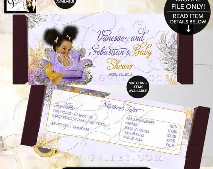 Candy Bar Wrapper, Lavender Purple Gold and Silver, Baby Shower Afro Puffs, Ribbons Bows, Diamonds Pearls, Label, Party Favors 2-Per/Sheet.