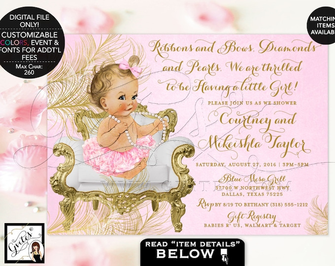 Pink and Gold Baby shower invitations, ribbons bows diamonds and pearls, vintage, girl tutu invite, 5x7. {White/Gold Feathers} Gvites