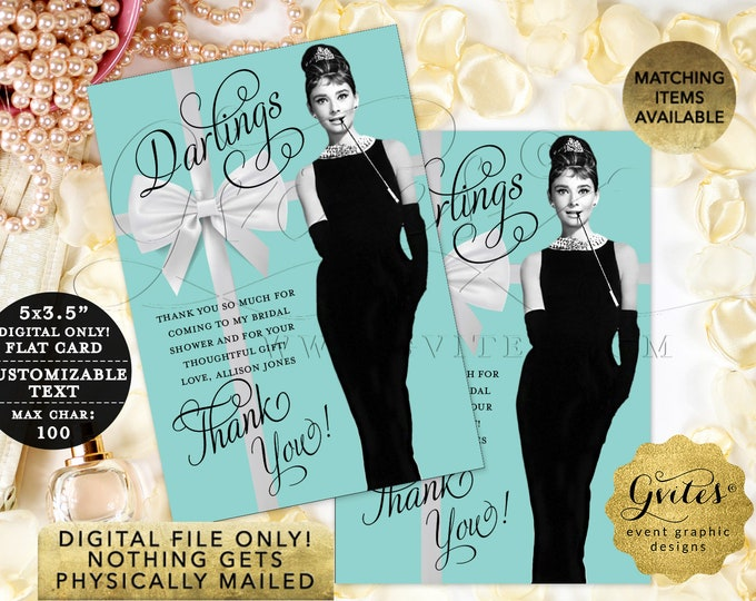 "Breakfast at Thank You Cards, Bridal Shower, Wedding Shower, Lingerie Shower, Audrey Hepburn Printable Thank {3.5x5"" 4 Per/Sheet}"