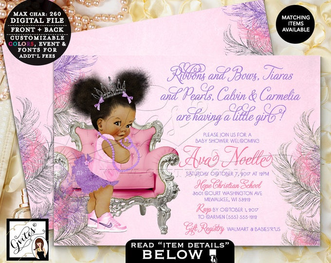 """Pink and purple baby shower, african american princess tiara lavender silver, baby girl, printable 7x5"""" Double Sided. Afro Puffs. Gvites"""