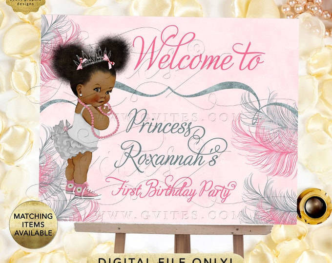 Princess Welcome Baby Sign, Pink Silver First Birthday Afro Puffs Vintage Girl Party Decorations, Digital File Only | Design: TIACE-105