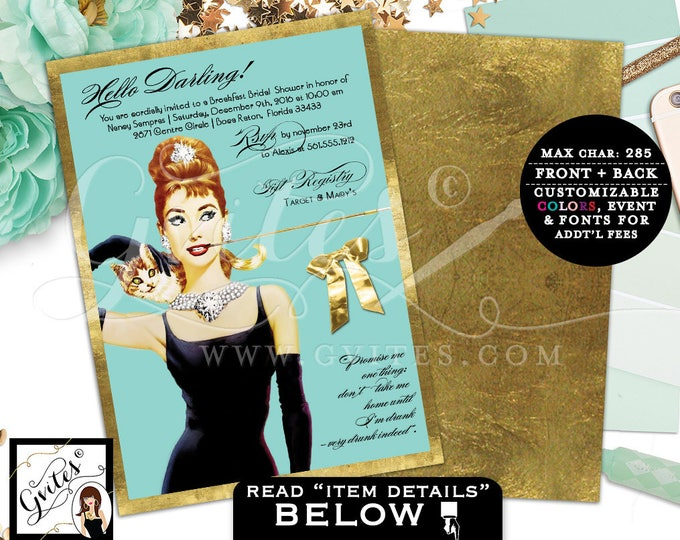 Audrey Hepburn Theme Bridal shower Invitations, inspired invites, personalized invitation, Light Blue, Light Brown,Brunette double sided 5x7