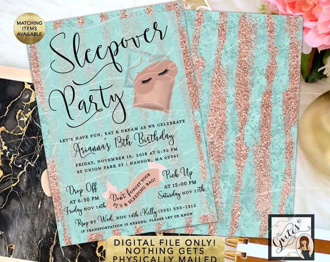 Sleepover Birthday Invitation Rose Gold, 13th Party, 5x7 double sided. Digital File Only!