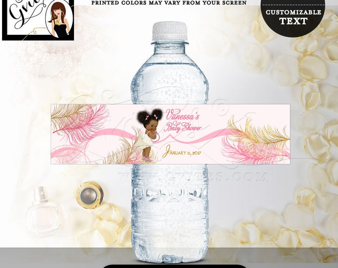 """Water bottle labels, baby shower, girl, pink and gold party decorations, stickers, favors gifts. 8x2""""/5 Per Sheet. Digital File!"""